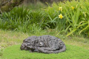 bronze resin curled cat sculpture