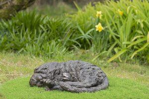 curled cat sculpture bronze resin