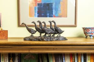 Bronze Gaggle of Geese Statue