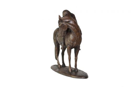 HORSE AND GIRL SCULPTURE