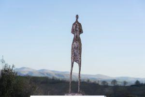Woman and Rabbit Statue Figurative