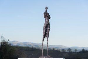 Woman and Rabbit Garden Sculpture