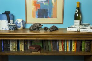 Bronze Family of pigs sculpture