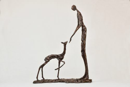 'TRUST' GIRL AND FAWN SCULPTURE