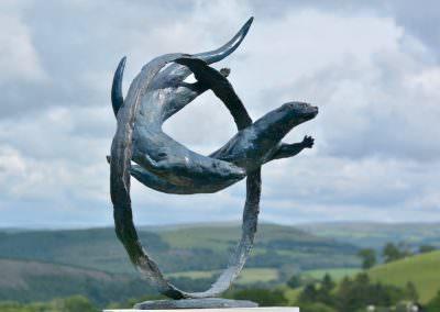 Bronze Swimming Otter Sculpture