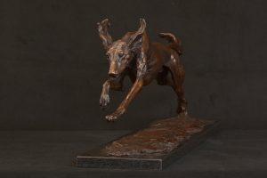 bronze running saluki statue