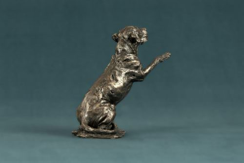 'HOPE' RESCUE DOG WAVING PAW SCULPTURE