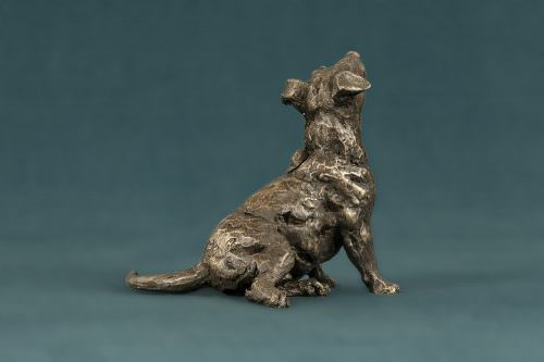 SMALL SITTING JACK RUSSELL TERRIER SCULPTURE