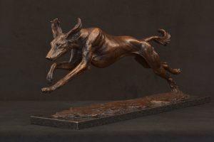 bronze running saluki sculpture