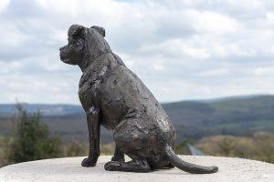 bronze American staffordshire bull terrier sculpture