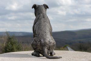 bronze American staffordshire bull terrier statue