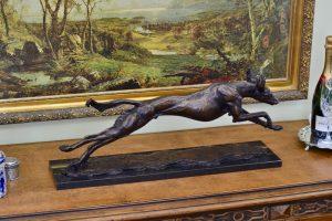 Bronze saluki statue