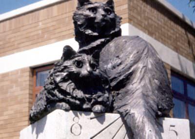 cat sundial sculpture private garden commission