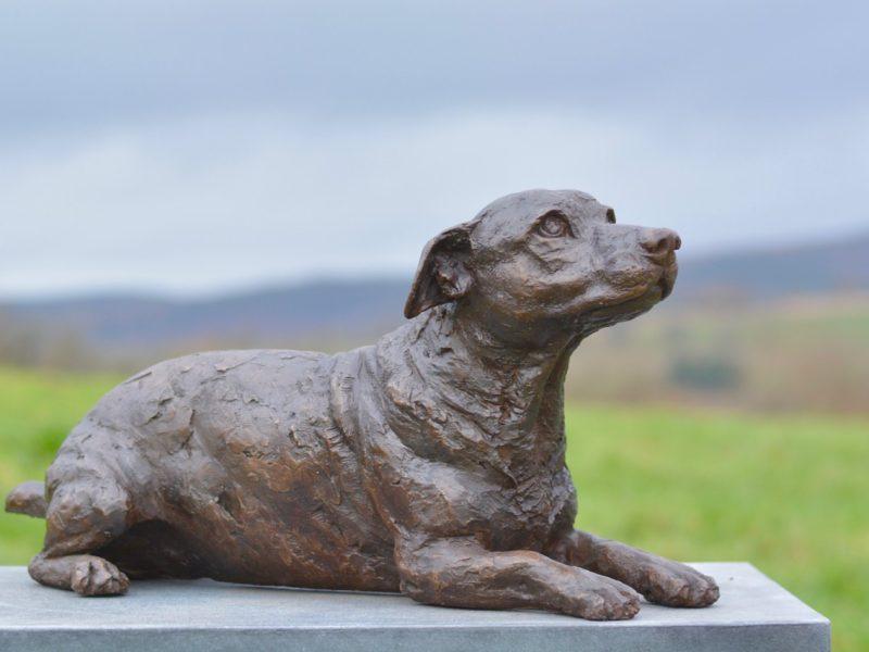 Lying Jack Russell Terrier Sculpture