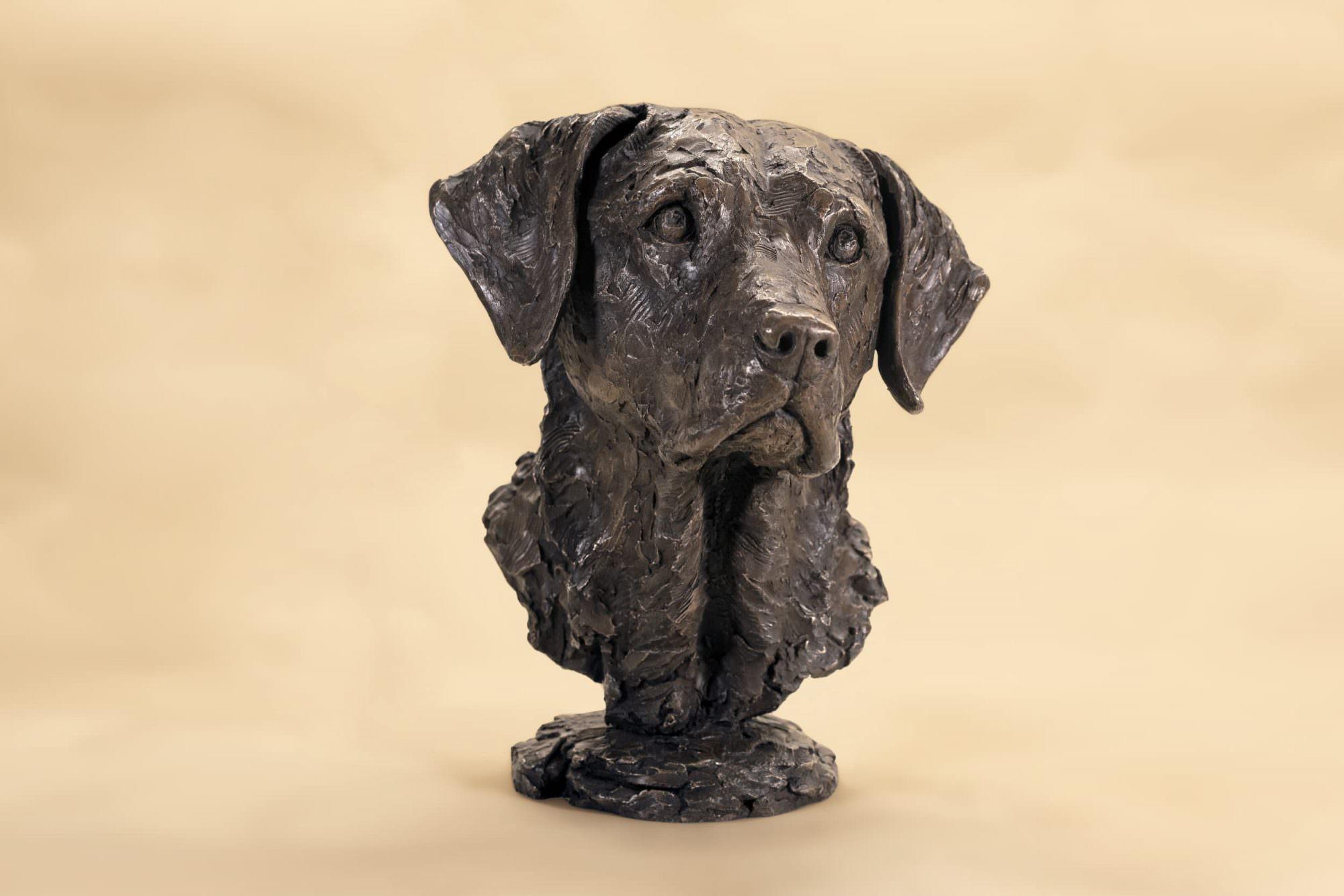 Bronze labrador portrait sculpture