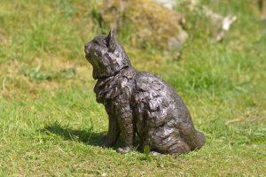 bronze sitting longhaired cat sculpture