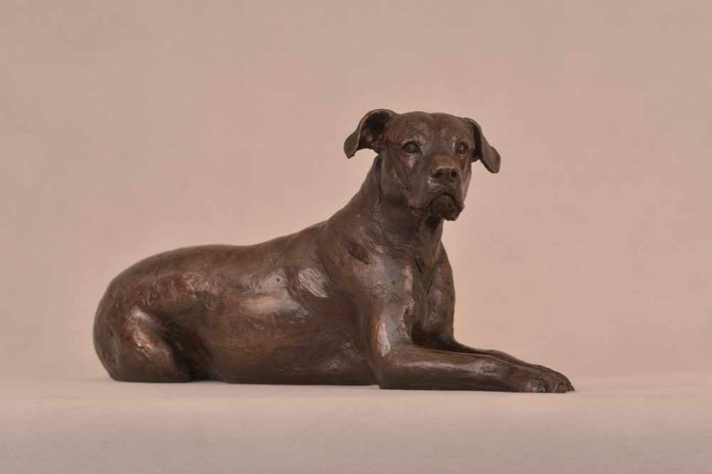 Lying Mixed Breed Rescue Dog Statue