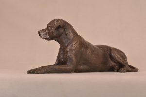 Lying Mixed Breed Dog Statue